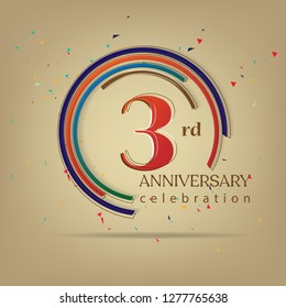 3rd Anniversary colorful with brown background, for greeting cards