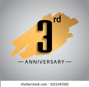 3rd anniversary design with golden brush isolated on white background for celebration event