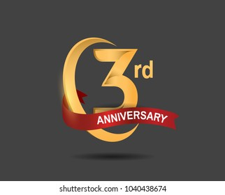 3rd anniversary design logotype golden color with ring and red ribbon for celebration