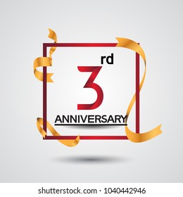 3rd anniversary design with red color in square and golden ribbon isolated on white background for celebration