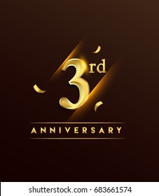 3rd anniversary glowing logotype with confetti golden colored isolated on dark background, vector design for greeting card and invitation card.