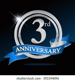 3rd anniversary logo with blue ribbon and silver ring, vector template for birthday celebration.