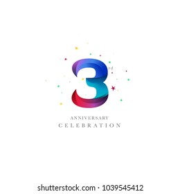 3rd Anniversary Logo Design, Number 3 Icon Vector Template.