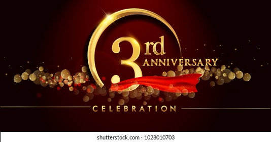 3rd anniversary logo with golden ring, confetti and red ribbon isolated on elegant black background, sparkle, vector design for greeting card and invitation card