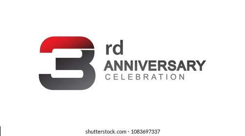 3rd anniversary logo red and black design simple isolated on white background for anniversary celebration.