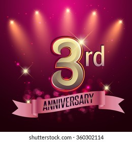 3rd Anniversary, Party poster, banner or invitation - background glowing element. Vector Illustration.