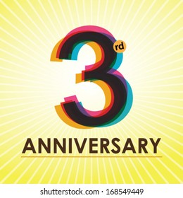 3rd Anniversary poster / template design in retro style - Vector Background