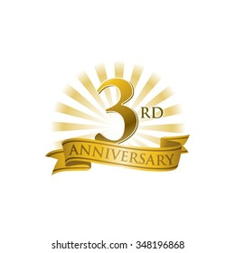3rd anniversary ribbon logo with golden rays of light