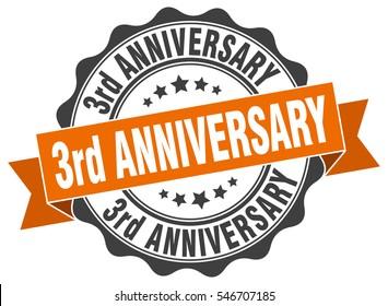 3rd anniversary. stamp. sticker. seal. round grunge vintage ribbon 3rd anniversary sign