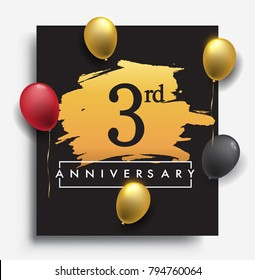 3rd anniversary template design on golden brush background and balloon, vector design for greeting card and invitation card, Birthday celebration