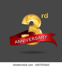 3rd anniversary years celebration logotype. Logo gold numbers and ribbon gray background.