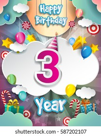 3rd Birthday Celebration greeting card Design, with clouds and balloons. Vector elements for the celebration party of three years anniversary