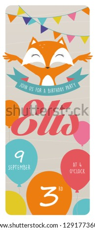 3rd Birthday Party Invitation Card With Fox