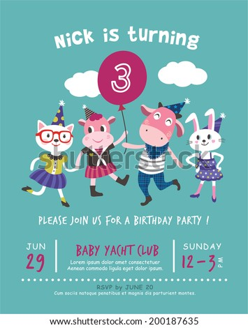 3rd Birthday Party Invitation Card Stock Vector Royalty Free