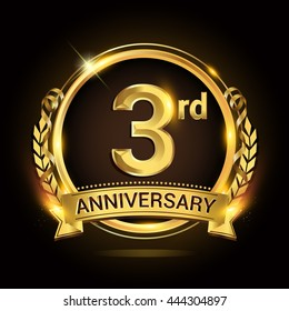 3rd golden anniversary logo, 3 years anniversary celebration with ring and ribbon, Golden anniversary laurel wreath design.