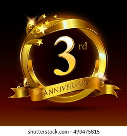 3rd golden anniversary logo, 3 years anniversary celebration with ring and ribbon.