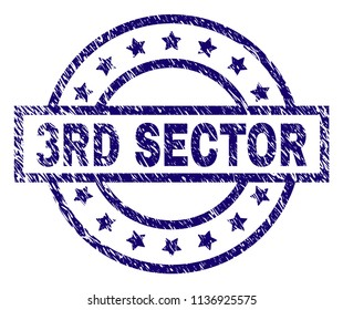 3RD SECTOR stamp seal watermark with grunge texture. Designed with rectangle, circles and stars. Blue vector rubber print of 3RD SECTOR title with grunge texture.