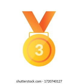 3rd sport medal winner medalion icon. Champion winner awards of honor vector isolated template icon