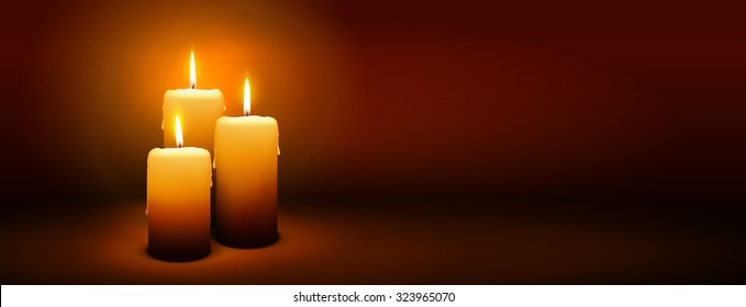 3rd Sunday of Advent - Third Candle with Warm Atmosphere - Candlelight, Panorama, Banner, Website Head Template - Candlelight Dinner