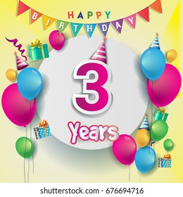 3rd Years Anniversary Celebration Birthday Card Or Greeting Design With Gift Box And Balloons