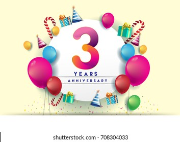 3rd years Anniversary Celebration Design with balloons and gift box, Colorful design elements for banner and invitation card.