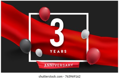 3rd years Anniversary celebration logo, isolated on red ribbon and balloon, vector elements for banner, invitation card and birthday party.