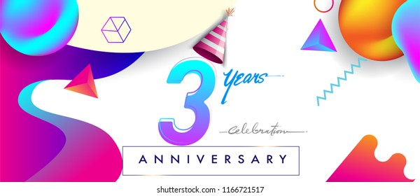 3rd years anniversary logo, vector design birthday celebration with colorful geometric background and abstract elements