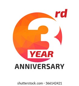 3th anniversary logo template in the circle form.