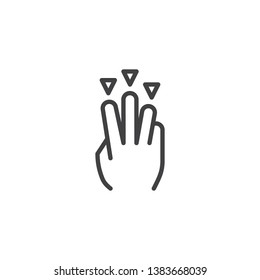 3x drag down line icon. Hand Click linear style sign for mobile concept and web design. Three finger touch gesture outline vector icon. Symbol, logo illustration. Pixel perfect vector graphics