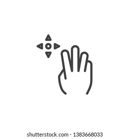 3x drag line icon. Hand Click linear style sign for mobile concept and web design. Three finger touch gesture outline vector icon. Symbol, logo illustration. Pixel perfect vector graphics