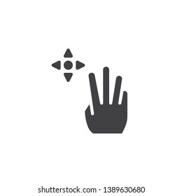3x drag vector icon. Hand Click filled flat sign for mobile concept and web design. Finger touch gesture glyph icon. Symbol, logo illustration. Pixel perfect vector graphics