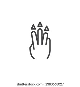 3x drug up line icon. Hand Click linear style sign for mobile concept and web design. Three finger touch gesture outline vector icon. Symbol, logo illustration. Pixel perfect vector graphics