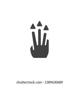 3x drug up vector icon. Hand Click filled flat sign for mobile concept and web design. Three finger touch gesture glyph icon. Symbol, logo illustration. Pixel perfect vector graphics
