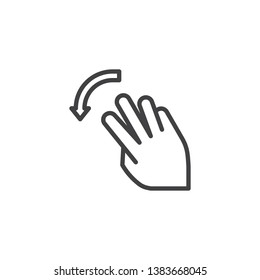 3x flick down line icon. Swipe down hand Click linear style sign for mobile concept and web design. Three finger touch gesture outline vector icon. Symbol, logo illustration. Pixel perfect vector