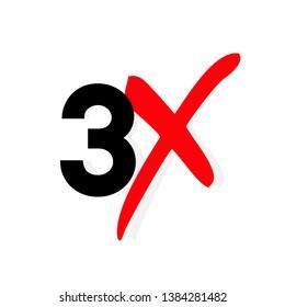 3x logo icon. X3 text letter, double faster logotype symbol.