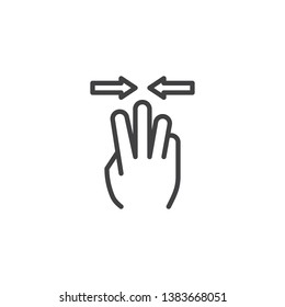 3x pinch line icon. Hand Click linear style sign for mobile concept and web design. Three finger touch gesture outline vector icon. Symbol, logo illustration. Pixel perfect vector graphics