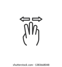 3x spread line icon. Hand Click linear style sign for mobile concept and web design. Three finger touch gesture outline vector icon. Symbol, logo illustration. Pixel perfect vector graphics