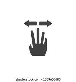 3x spread vector icon. Hand Click filled flat sign for mobile concept and web design. Three finger touch gesture glyph icon. Symbol, logo illustration. Pixel perfect vector graphics