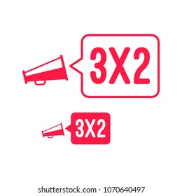 3x2 Offer Megaphone Advertisement Label