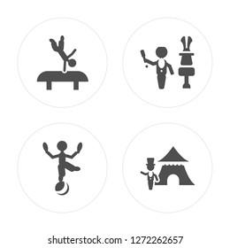 4 Acrobat man, Magician Ringmaster man modern icons on round shapes, vector illustration, eps10, trendy icon set.