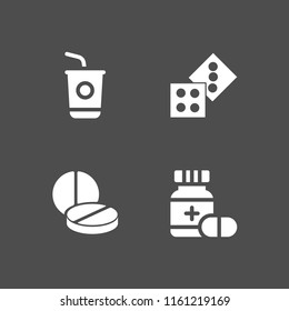 4 addiction icons in vector set. sugar, pill, two casino dices and drug illustration for web and graphic design