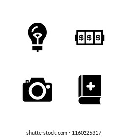 4 antique icons in vector set. photo camera, book, lightbulb and slots coincidence illustration for web and graphic design