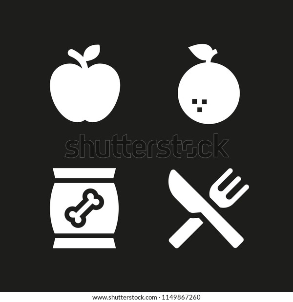 4 Apple Icons Vector Set Snack Stock Vector (Royalty Free