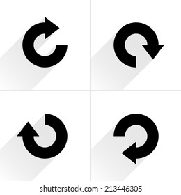 4 arrow icon refresh, rotation, reset, repeat, reload sign set 04. Black pictogram with gray long shadow on white background. Simple, plain, solid, flat style. Vector illustration web design 8 eps