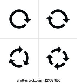 4 arrow pictogram refresh reload rotation loop sign set. Volume 02. Simple black icon on white background. Modern mono solid plain flat minimal style. Vector illustration web design elements 8 eps