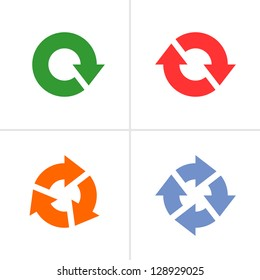 4 arrow pictogram refresh reload rotation loop sign set. Volume 04 (colored variation). Simple icon on white background. Mono solid plain flat minimal style. Vector illustration design elements 8 eps