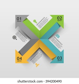 4 arrows in various directions, business infographic element