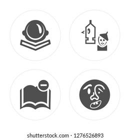 4 Astronaut, Book, Wizard of oz, Quasimodo modern icons on round shapes, vector illustration, eps10, trendy icon set.