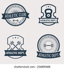 4 Athletic Dept., Club vintage emblems vector illustration, eps10