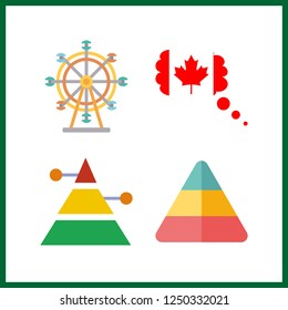 4 attraction icon. Vector illustration attraction set. canada and ferris whell icons for attraction works